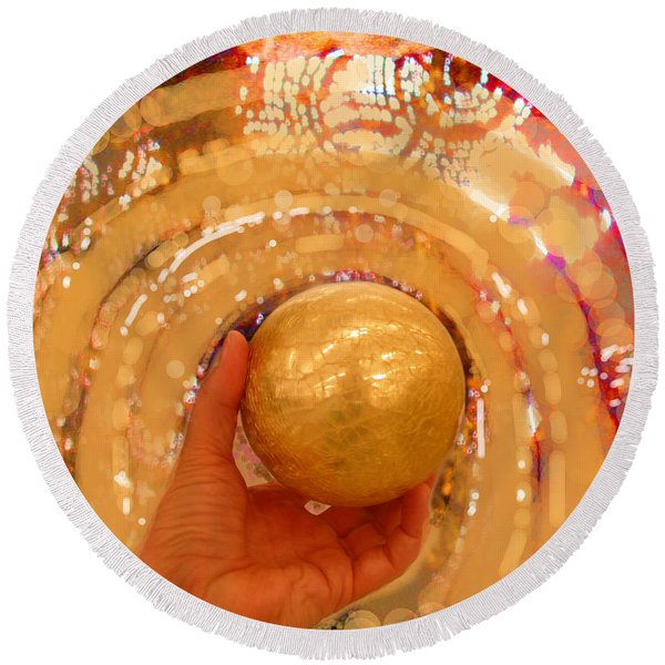 Golden Sphere Round Beach Towel