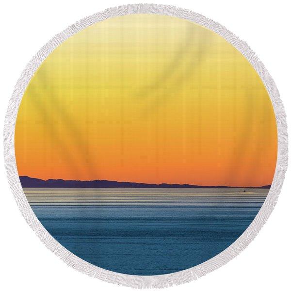 Golden Sunset Series I Round Beach Towel