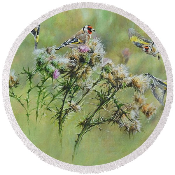 Goldfinches On Thistle Round Beach Towel