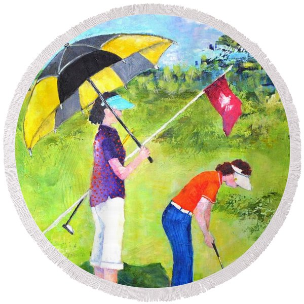Golf Buddies #3 Round Beach Towel