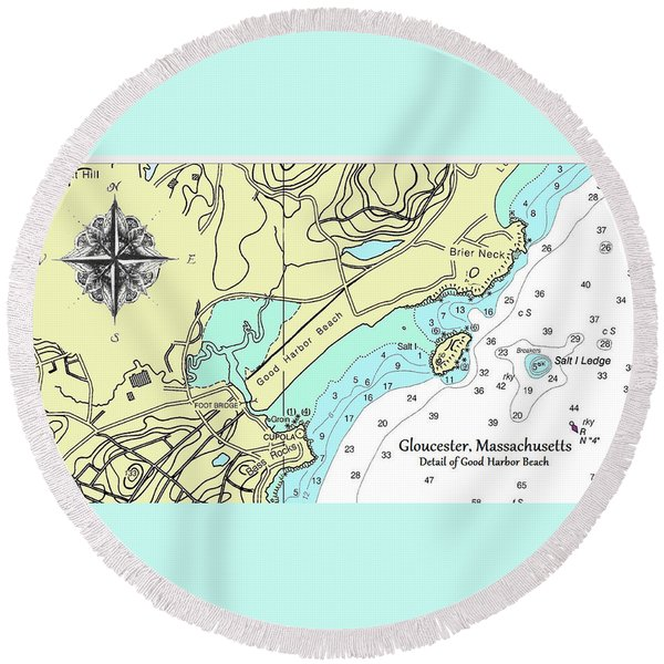 Good Harbor Beach Round Beach Towel