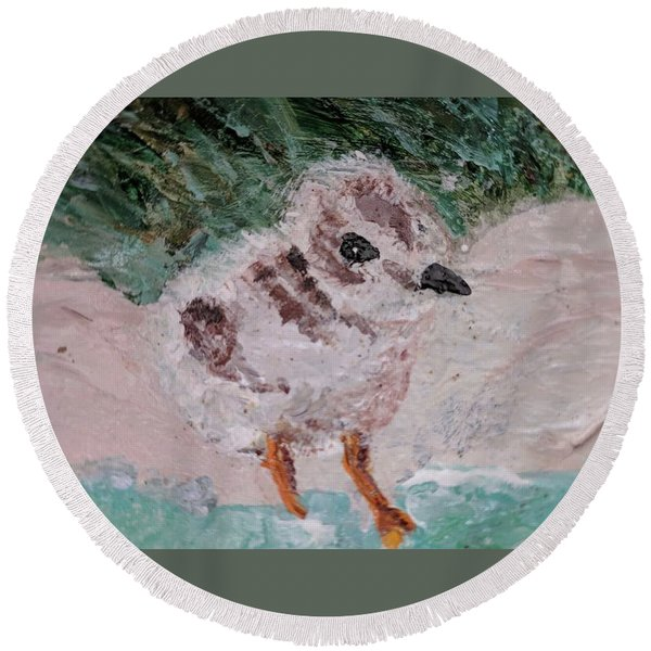 Good Harbor Piping Plover Chick #1 Round Beach Towel
