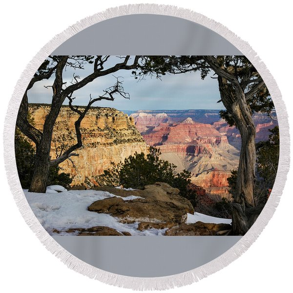 Round Beach Towel featuring the photograph Grand Canyon At Sunrise by Mary Lee Dereske