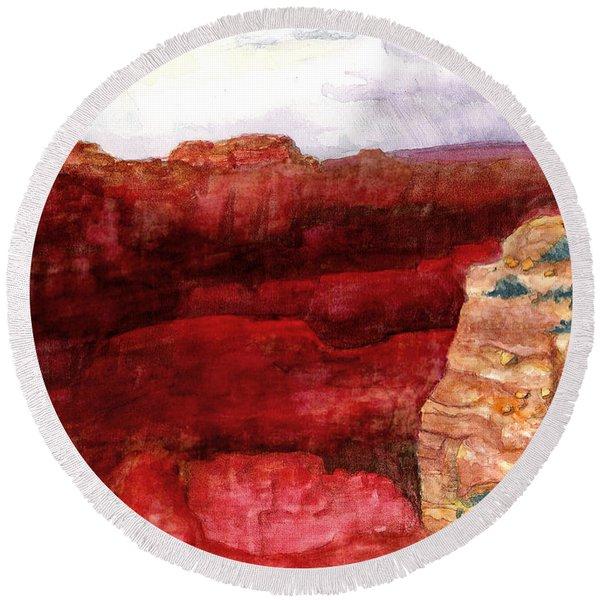Grand Canyon S Rim Round Beach Towel