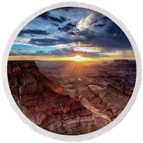 Grand Canyon Sunburst Round Beach Towel