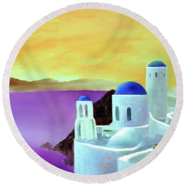 Grandeur Of Greece Round Beach Towel