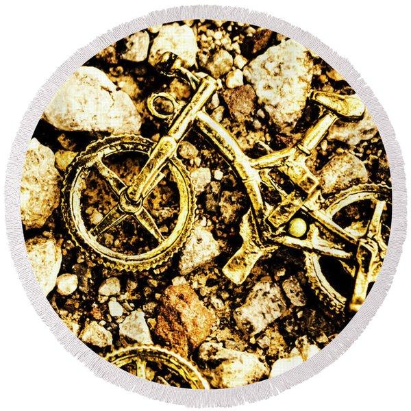 Gravel Bikes Round Beach Towel