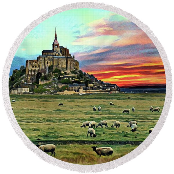 Grazing At Mont Saint Michel Round Beach Towel