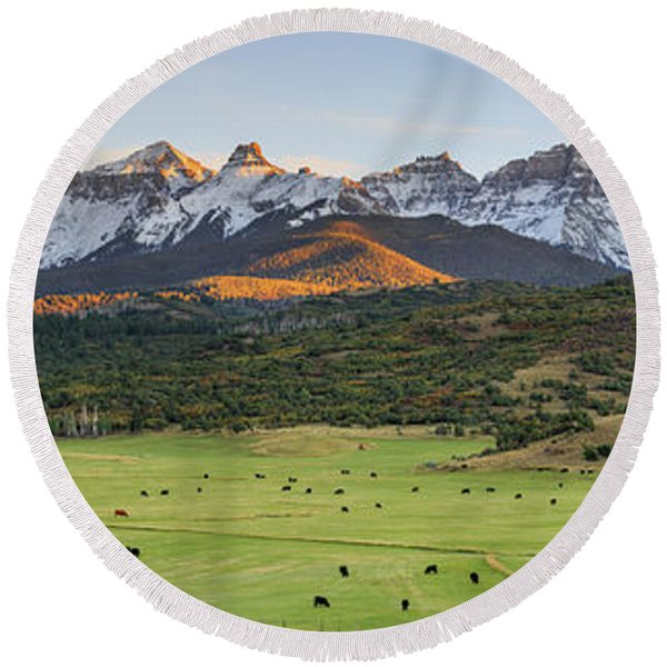 Grazing Under Sneffels Round Beach Towel