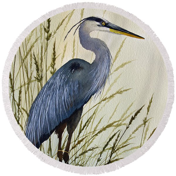 Great Blue Heron Splendor Round Beach Towel