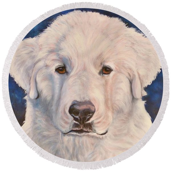 Great Pyrenees Round Beach Towel