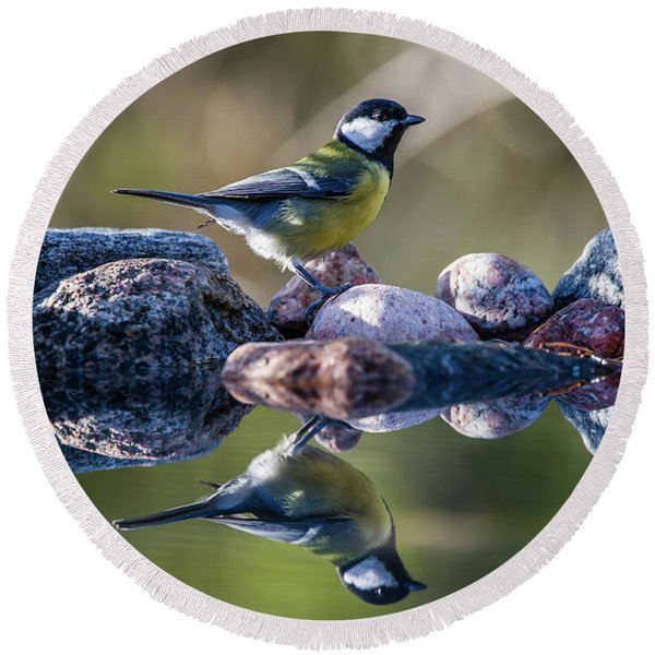 Great Tit On The Stone Round Beach Towel