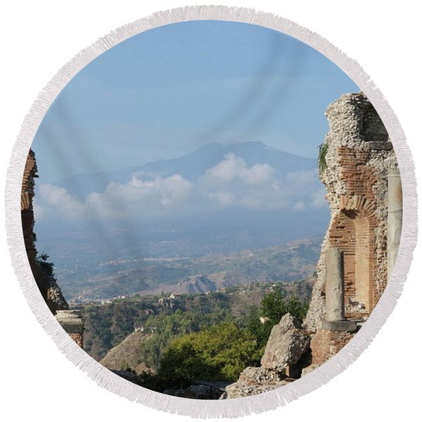 Greek Theatre Taormina Round Beach Towel