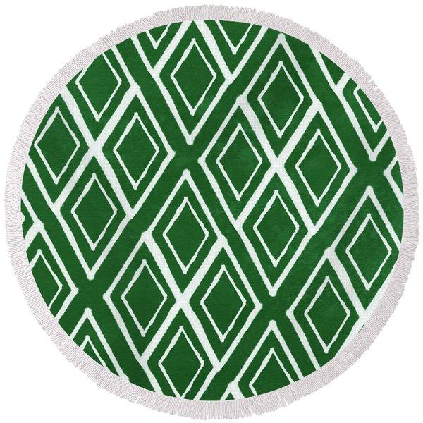 Green And White Diamonds- Art By Linda Woods Round Beach Towel