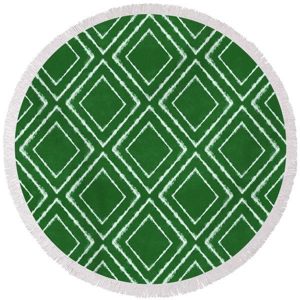 Green And White Inky Diamonds- Art By Linda Woods Round Beach Towel
