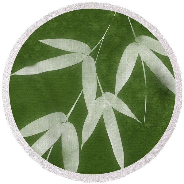 Green Bamboo 1-art By Linda Woods Round Beach Towel