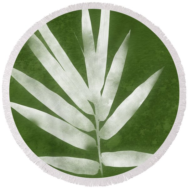 Green Bamboo 2- Art By Linda Woods Round Beach Towel