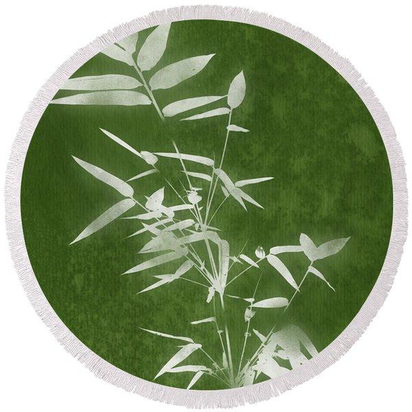 Green Bamboo 3- Art By Linda Woods Round Beach Towel