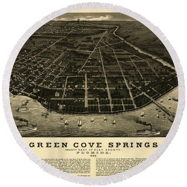 Green Cove Springs, County Seat Of Clay County, Florida Round Beach Towel