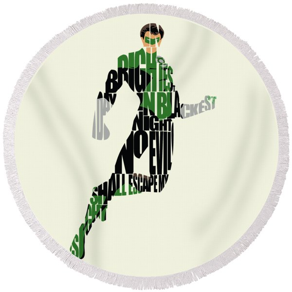 Green Lantern Round Beach Towel
