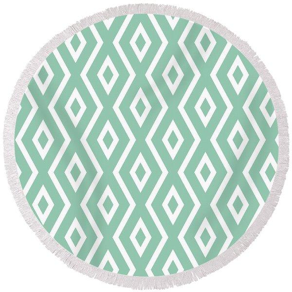 Light Sage Green Pattern Round Beach Towel