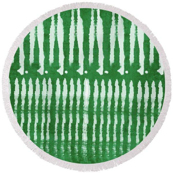 Green Shibori 1- Art By Linda Woods Round Beach Towel