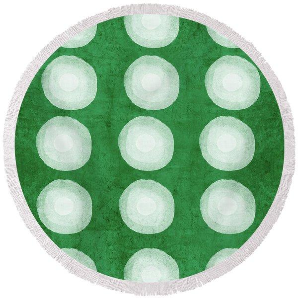 Green Shibori 4- Art By Linda Woods Round Beach Towel
