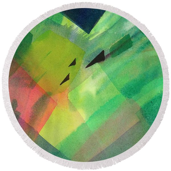 Round Beach Towel featuring the painting Green Takeoff by Carolyn Utigard Thomas