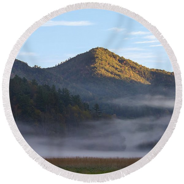 Ground Fog In Cataloochee Valley - October 12 2016 Round Beach Towel