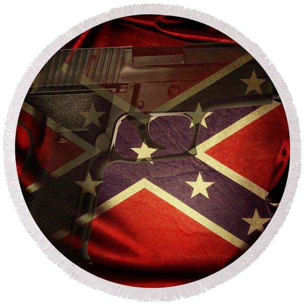 Gun And Confederate Flag Round Beach Towel