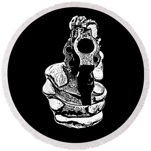 Gunman T-shirt Round Beach Towel