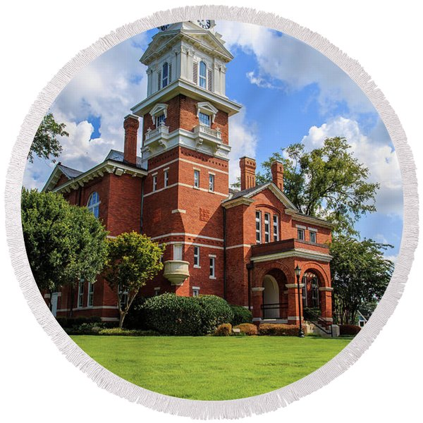 Gwinnett County Historic Courthouse Round Beach Towel