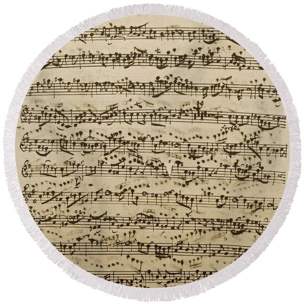 Handwritten Score For Mass In B Minor Round Beach Towel