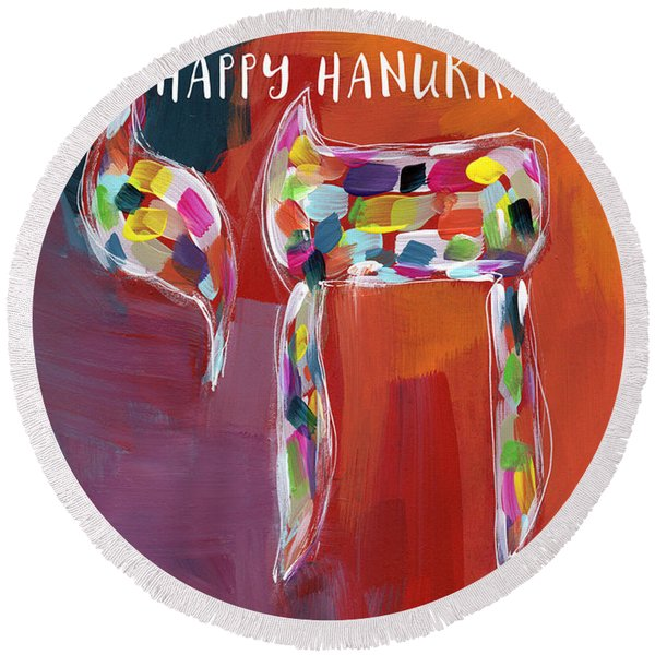 Hanukkah Chai- Art By Linda Woods Round Beach Towel