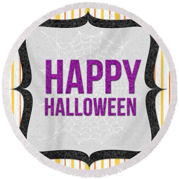 Happy Halloween-art By Linda Woods Round Beach Towel