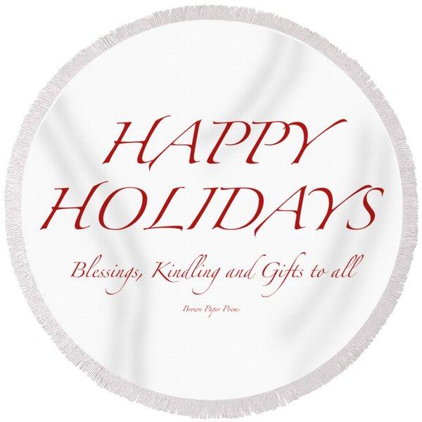 Happy Holidays - Day 8 Round Beach Towel
