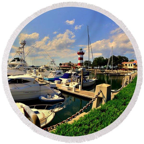 Harbour Town Marina Sea Pines Resort Hilton Head Sc Round Beach Towel