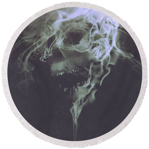 Haunted Smoke  Round Beach Towel