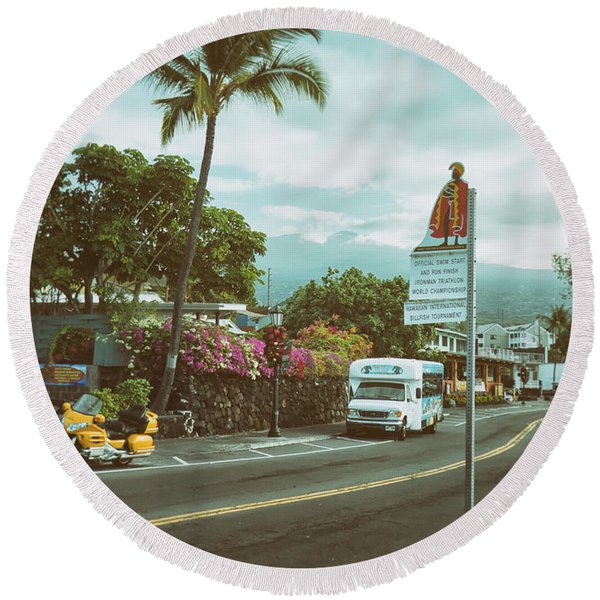 Round Beach Towel featuring the photograph Hawaii Ironman Start Point  by Mary Lee Dereske