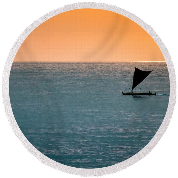 Round Beach Towel featuring the photograph Hawaiian Outrigger Canoe by Mary Lee Dereske