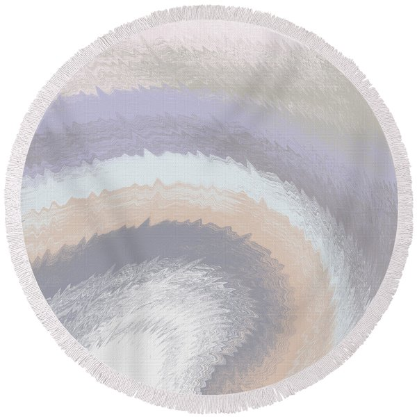 Hazy Morning- Abstract Art By Linda Woods Round Beach Towel