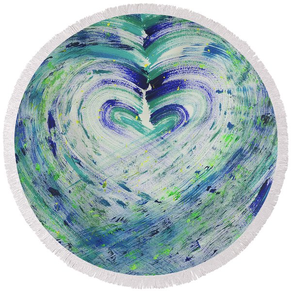 Heart Centered Peace And Love Round Beach Towel