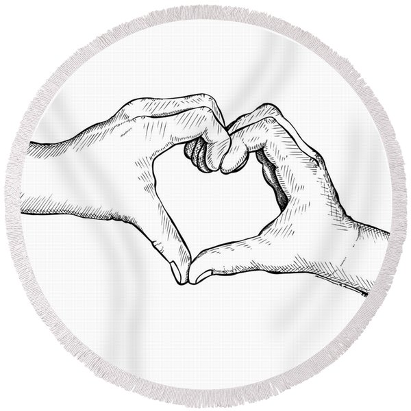 Heart Hands Round Beach Towel