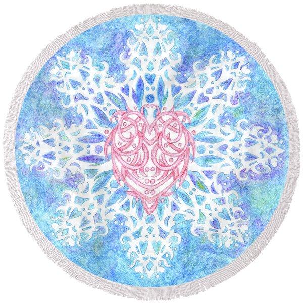 Heart In Snowflake Round Beach Towel