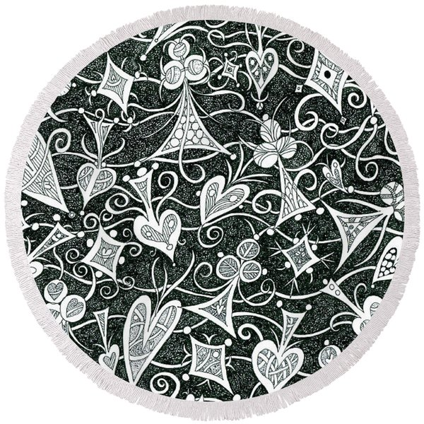 Hearts, Spades, Diamonds And Clubs In Black Round Beach Towel