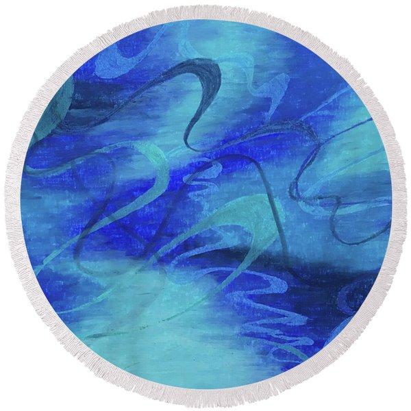 Heartsong Blue 1 Round Beach Towel