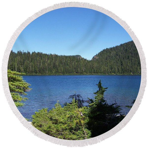 Hemlock On The Shore Round Beach Towel