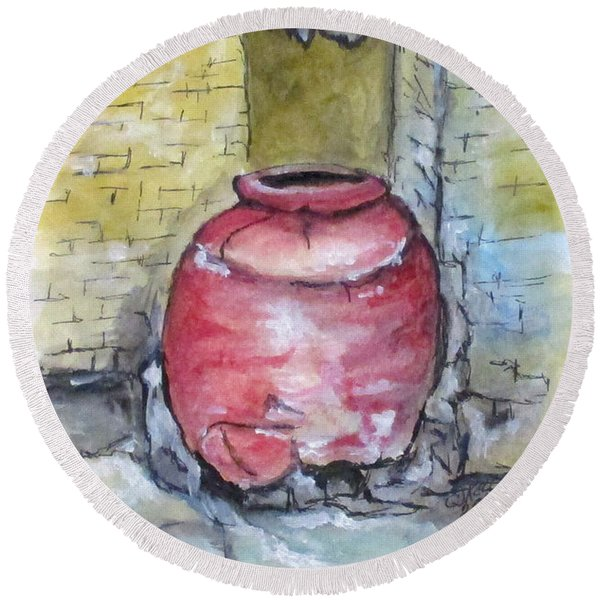Herculaneum Amphora Pot Round Beach Towel