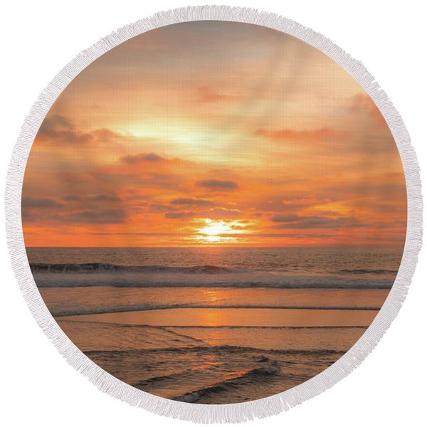 Round Beach Towel featuring the photograph Hermosa Sunset Classic3 by Michael Hope