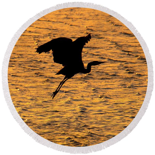 Heron Sunset Round Beach Towel